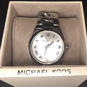 Michael Kors twisted silver chain watch